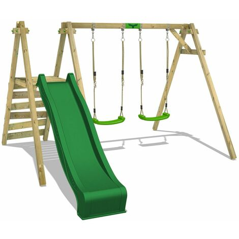 FATMOOSE MEGA-SALE Wooden swing set JollyJack with green slide Children's swing