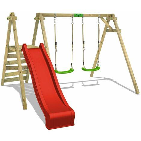 FATMOOSE MEGA-SALE Wooden swing set JollyJack with red slide Children's swing