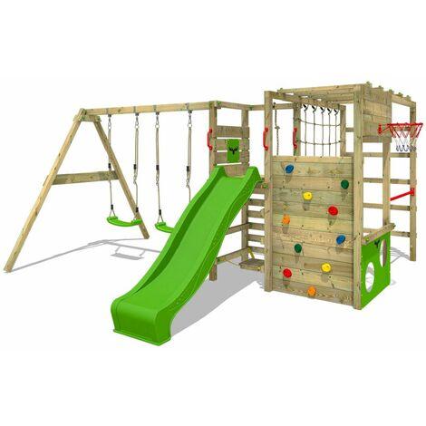 FATMOOSE Parque infantil de madera ActionArena con columpio y tobogán verde manzana, Área de juegos da exterior, pared de escalada Sueco con pared de escalada para niños