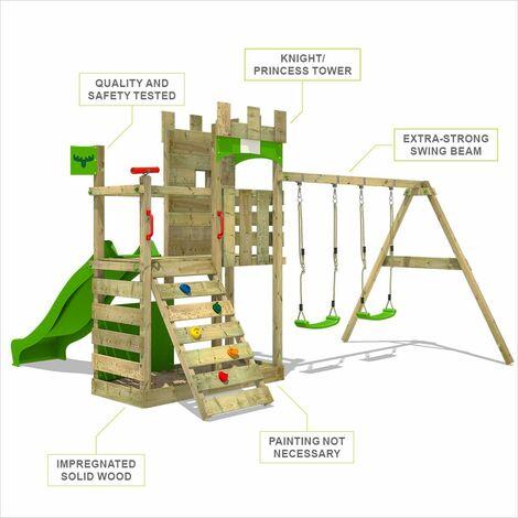 FATMOOSE Parque infantil de madera BoldBaron con columpio y tobogán verde manzana, Casa de juegos de jardín con arenero y escalera para niños