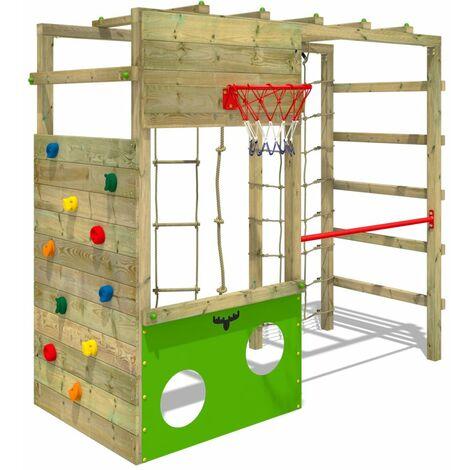 FATMOOSE Parque infantil de madera CleverClimber Área de juegos da exterior, pared de escalada Sueco con arenero y pared de escalada para niños