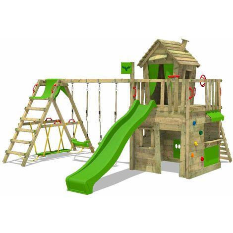 FATMOOSE Parque infantil de madera CrazyCat con columpio SurfSwing y tobogán verde manzana, Casa de juegos de jardín con escalera para niños