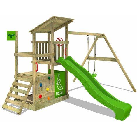 FATMOOSE Parque infantil de madera FruityForest con columpio y tobogán verde manzana, Casa de juegos de jardín con arenero y escalera para niños
