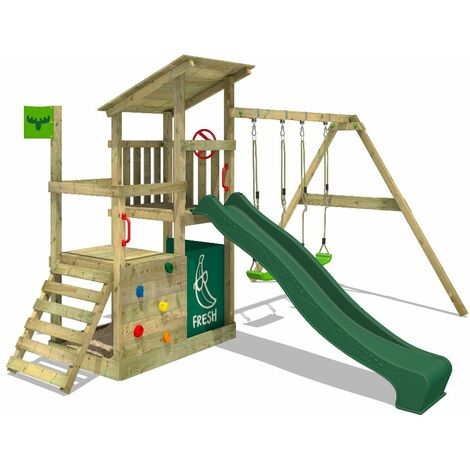 FATMOOSE Parque infantil de madera FruityForest con columpio y tobogán verde Torre de escalada de exterior con arenero y escalera para niños