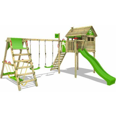 FATMOOSE Parque infantil de madera FunFactory con columpio SurfSwing y tobogán verde manzana, Casa sobre pilares de exterior con escalera para niños