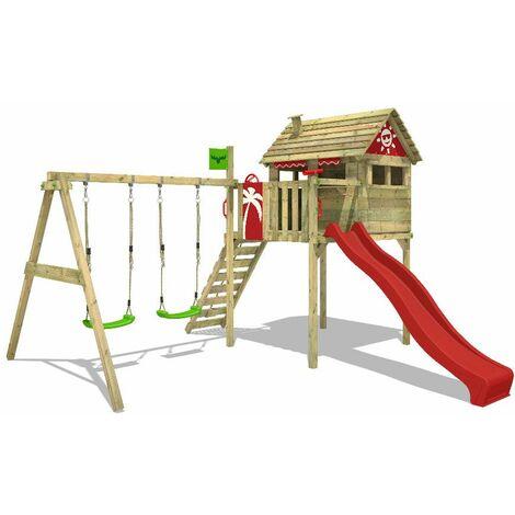 FATMOOSE Parque infantil de madera FunFactory con columpio y tobogán rojo Casa sobre pilares de exterior con escalera para niños