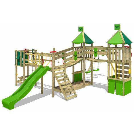 FATMOOSE Parque infantil de madera FunnyFortress con columpio y tobogán verde manzana, Casa de juegos de jardín con arenero y escalera para niños
