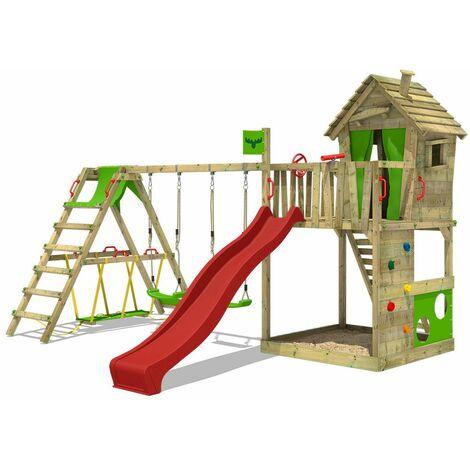 FATMOOSE Parque infantil de madera HappyHome con columpio SurfSwing y tobogán rojo, Casa de juegos de jardín con arenero y escalera para niños