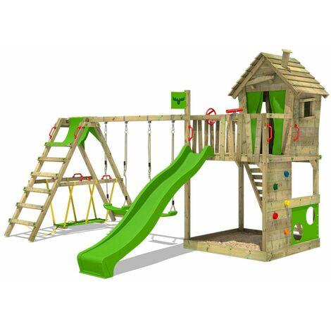 FATMOOSE Parque infantil de madera HappyHome con columpio SurfSwing y tobogán verde manzana, Casa de juegos de jardín con arenero y escalera para niños