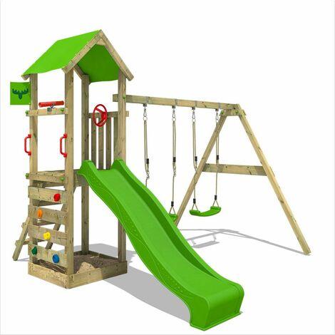 FATMOOSE Parque infantil de madera KiwiKey con columpio y tobogán manzana verde Torre de escalada de exterior con arenero y escalera para niños