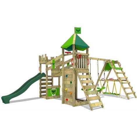 FATMOOSE Parque infantil de madera RiverRun con columpio SurfSwing y tobogán verde Casa de juegos de jardín con arenero y escalera para niños