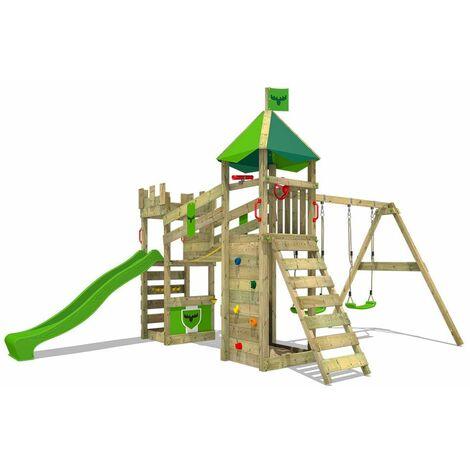 FATMOOSE Parque infantil de madera RiverRun con columpio y tobogán verde manzana, Casa de juegos de jardín con arenero y escalera para niños