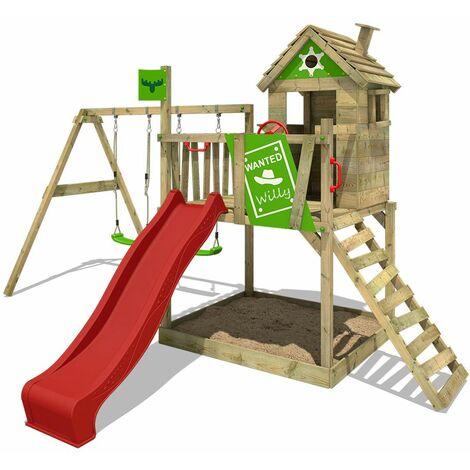FATMOOSE Parque infantil de madera RockyRanch con columpio y tobogán rojo, Casa sobre pilares de exterior con arenero y escalera para niños