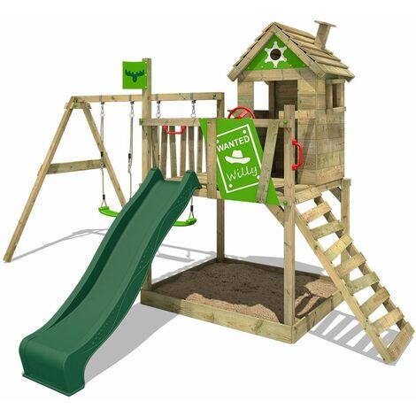 FATMOOSE Parque infantil de madera RockyRanch con columpio y tobogán verde, Casa sobre pilares de exterior con arenero y escalera para niños