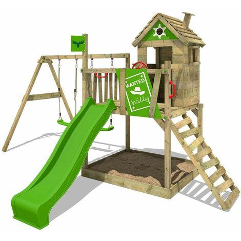 FATMOOSE Parque infantil de madera RockyRanch con columpio y tobogán verde manzana, Casa sobre pilares de exterior con arenero y escalera para niños