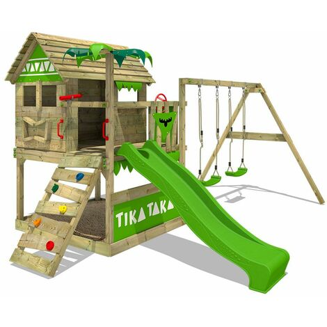 FATMOOSE Parque infantil de madera TikaTaka con columpio y tobogán verde manzana, Casa sobre pilares de exterior con arenero y escalera para niños