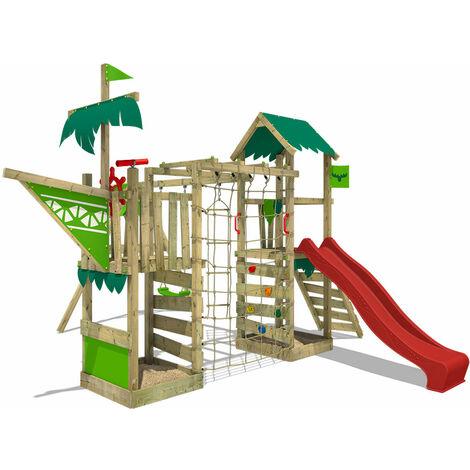 FATMOOSE Parque infantil de madera WaterWorld con columpio y tobogán rojo, Casa de juegos de jardín con arenero y escalera para niños