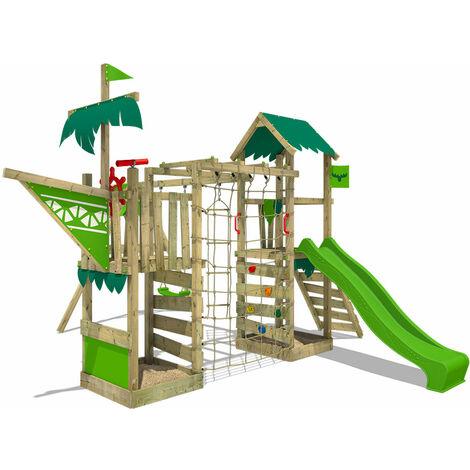 FATMOOSE Parque infantil de madera WaterWorld con columpio y tobogán verde manzana, Casa de juegos de jardín con arenero y escalera para niños