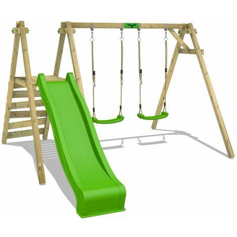FATMOOSE Portique balançoire Aire de jeux JollyJack avec vert pomme Portique bois pour enfants