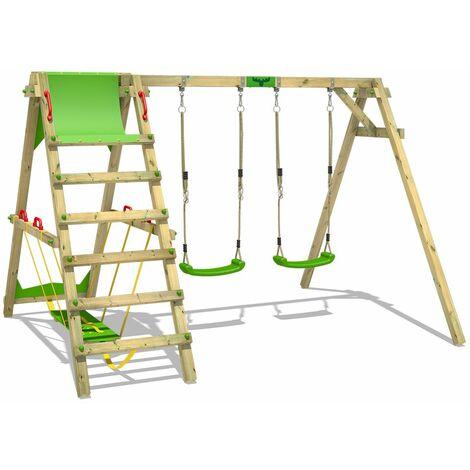FATMOOSE Portique balançoire Aire de jeux JollyJade avec Portique bois pour enfants