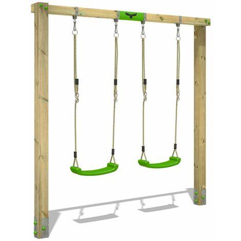 FATMOOSE Portique balançoire Aire de jeux JollyJane avec extension d'escalade Portique bois pour enfants