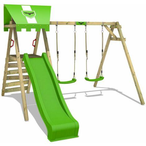 FATMOOSE Portique balançoire Aire de jeux JollyJess avec toboggan vert pomme