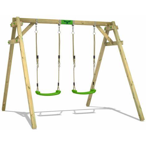 FATMOOSE Portique balançoire Aire de jeux JollyJim avec extension d'escalade Portique bois pour enfants