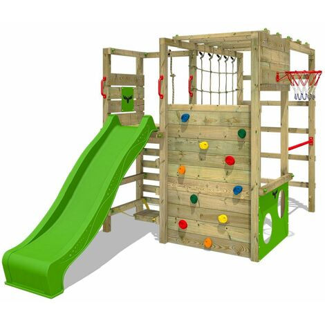 FATMOOSE Wooden climbing frame ActionArena with apple green slide, Garden playhouse with climbing wall & play-accessories