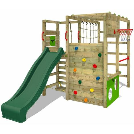 FATMOOSE Wooden climbing frame ActionArena with green slide, Garden playhouse with climbing wall & play-accessories