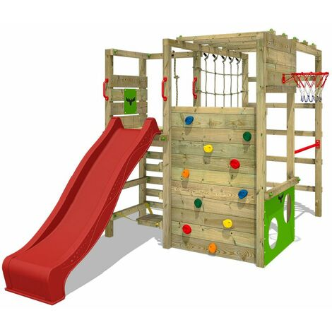 FATMOOSE Wooden climbing frame ActionArena with red slide, Garden playhouse with climbing wall & play-accessories