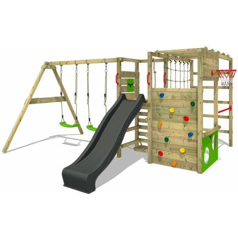 FATMOOSE Wooden climbing frame ActionArena with swing set and anthracite slide, Garden playhouse with climbing wall & play-accessories