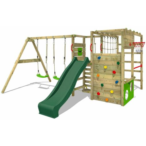 FATMOOSE Wooden climbing frame ActionArena with swing set and green slide, Garden playhouse with climbing wall & play-accessories