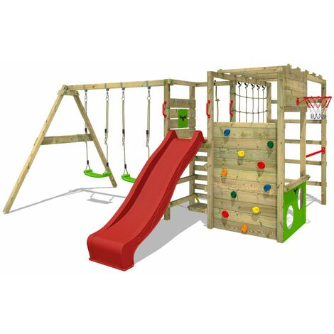 FATMOOSE Wooden climbing frame ActionArena with swing set and red slide, Garden playhouse with climbing wall & play-accessories
