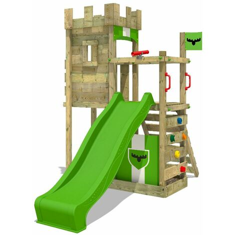 FATMOOSE Wooden climbing frame BoldBaron with apple green slide, Knight's playhouse with sandpit, climbing ladder & play-accessories