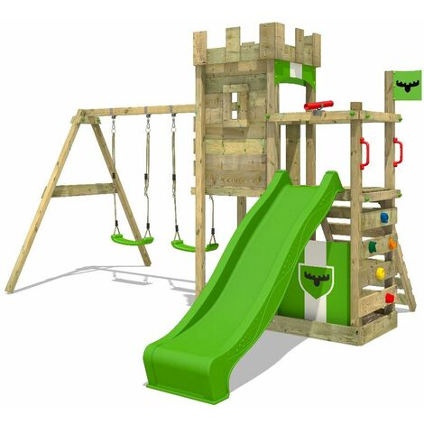 FATMOOSE Wooden climbing frame BoldBaron with swing set and apple green slide, Knight's playhouse with sandpit, climbing ladder & play-accessories