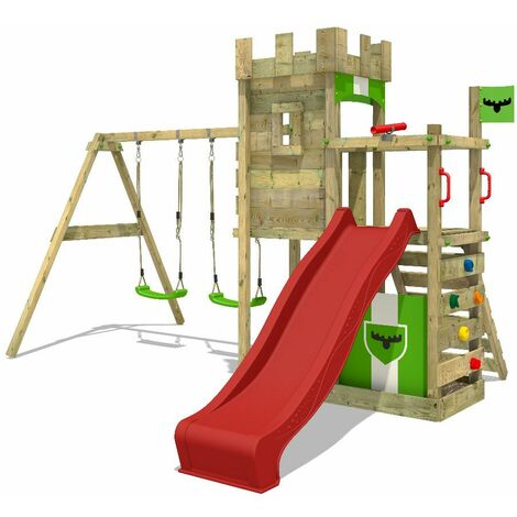 FATMOOSE Wooden climbing frame BoldBaron with swing set and red slide, Knight's playhouse with sandpit, climbing ladder & play-accessories