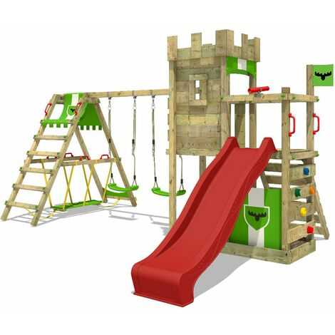 FATMOOSE Wooden climbing frame BoldBaron with swing set SurfSwing and red slide, Knight's playhouse with sandpit, climbing ladder & play-accessories