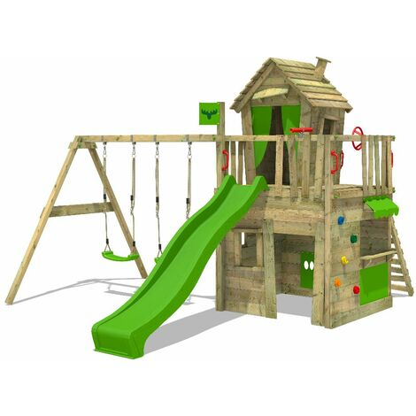 FATMOOSE Wooden climbing frame CrazyCat with swing set and apple green slide, Playhouse on stilts for kids with climbing ladder & play-accessories