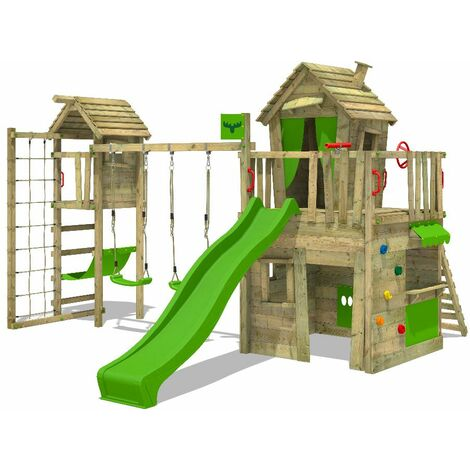 FATMOOSE Wooden climbing frame CrazyCat with swing set TowerSwing and apple green slide, Playhouse on stilts for kids with climbing ladder & play-accessories