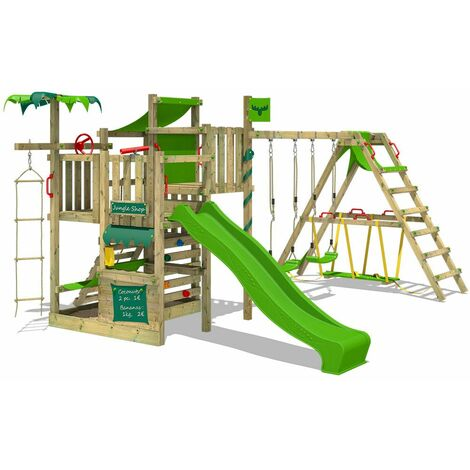 FATMOOSE Wooden climbing frame CrazyCoconut with swing set SurfSwing and apple green slide, Garden playhouse with sandpit, climbing wall & play-accessories