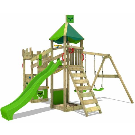 FATMOOSE Wooden climbing frame DazzyDuke with swing set and apple green slide, Knight's playhouse with sandpit, climbing ladder & play-accessories