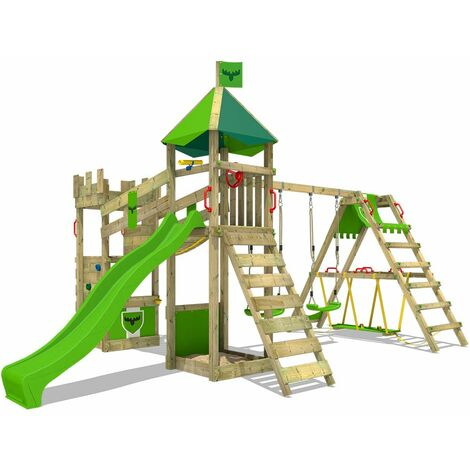 FATMOOSE Wooden climbing frame DazzyDuke with swing set SurfSwing and apple green slide, Knight's playhouse with sandpit, climbing ladder & play-accessories