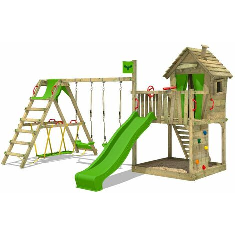 FATMOOSE Wooden climbing frame DonkeyDome with swing set SurfSwing and apple green slide, Playhouse on stilts for kids with sandpit, climbing ladder & play-accessories