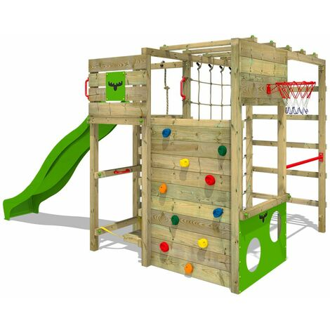 FATMOOSE Wooden climbing frame FitFrame with apple green slide, Garden playhouse with climbing wall & play-accessories