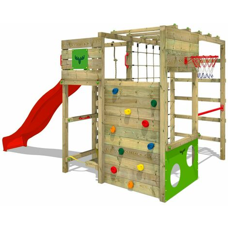 FATMOOSE Wooden climbing frame FitFrame with red slide, Garden playhouse with climbing wall & play-accessories