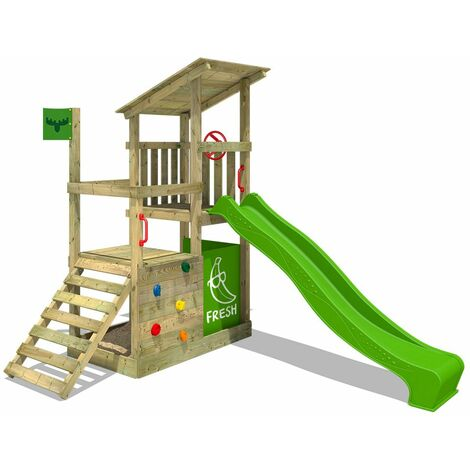 FATMOOSE Wooden climbing frame FruityForest with apple green slide, Garden playhouse with climbing ladder & play-accessories