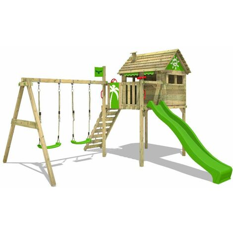 FATMOOSE Wooden climbing frame FunFactory with swing set and apple green slide, Playhouse on stilts for kids with climbing ladder & play-accessories