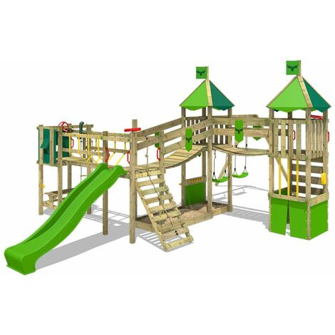 FATMOOSE Wooden climbing frame FunnyFortress with swing set and apple green slide, Knight's playhouse with sandpit, climbing ladder & play-accessories