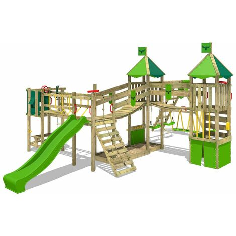 FATMOOSE Wooden climbing frame FunnyFortress with swing set SurfSwing and apple green slide, Knight's playhouse with sandpit, climbing ladder & play-accessories