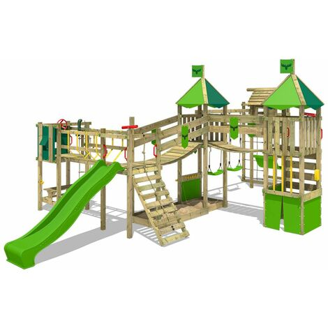 FATMOOSE Wooden climbing frame FunnyFortress with swing set TowerSwing and apple green slide, Knight's playhouse with sandpit, climbing ladder & play-accessories
